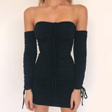 Women Bandage Dress Women  Sexy Off Shoulder Long Sleeve Slim Elastic Bodycon Party Dresses Vestidos