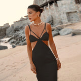 Satin Patchwork Lace Up Women Strap Midi Dress Hollow Out Backless Bodycon Sexy Elegant Party Festival