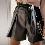 Casual High Waist Sashes PU Leather Shorts Woman Elastic Waist Solid Office Daily Short