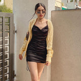 Satin Women Strap Mini Dress Drawstring Ruched Bodycon Sexy Streetwear Party Club Elegant Clothes Festival