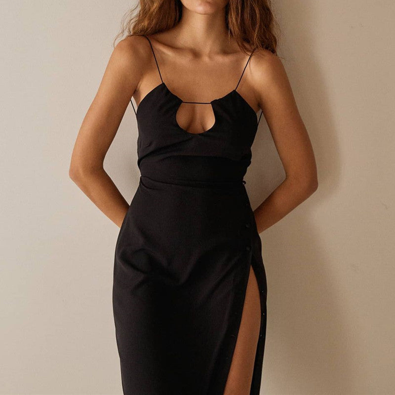 Black Sexy Hollow Out High Split Midi Dress Women Strap Backless Zipper Slim Dresses Ladies Party Button Vestidos