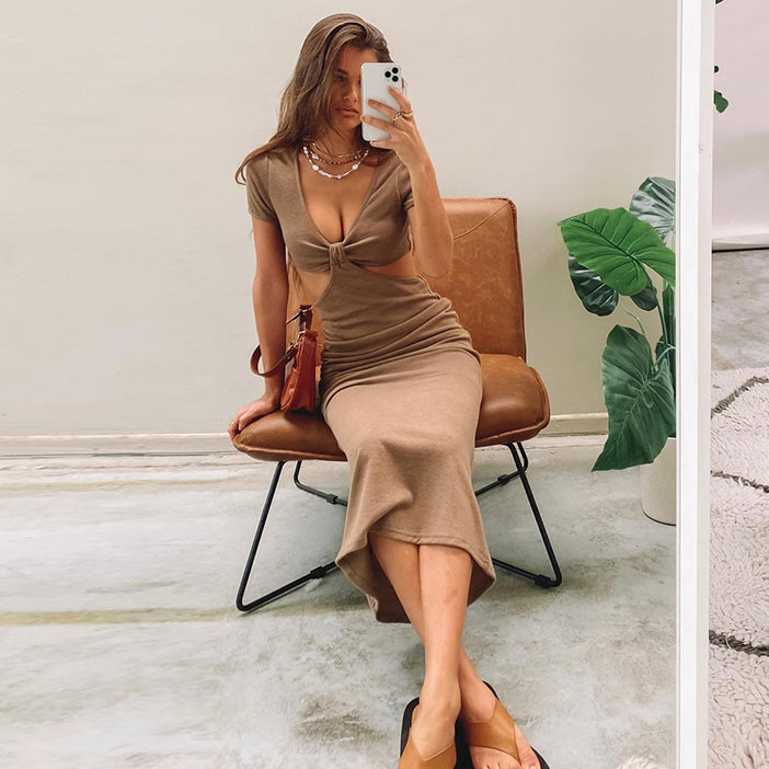 Hollow Out Women Short Sleeve Midi Dress Bodycon Sexy Streetwear Party Elegant Club Casual Festival Holiday