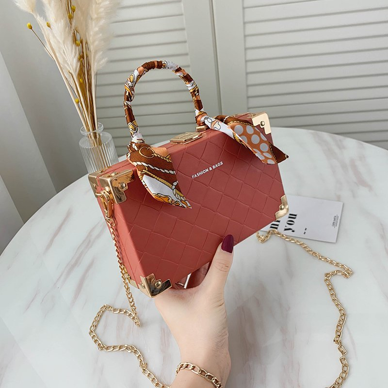 Women's Crossbody Bag Ribbon Handbag Female Luxury Designer Shoulder Messenger Bags High Quality Square Tote Box Mini Suitcase