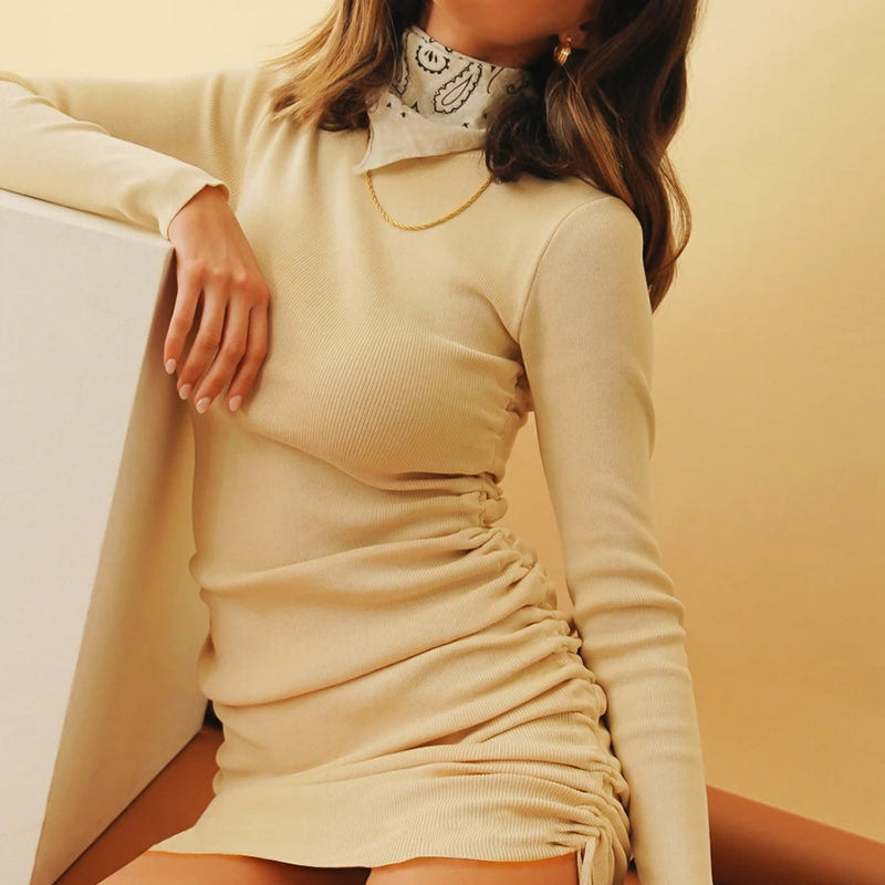 Solid Women Bodycon Dress Drawstring Club Cotton Long Sleeve O Neck Party Mini Sexy Knitted Dress