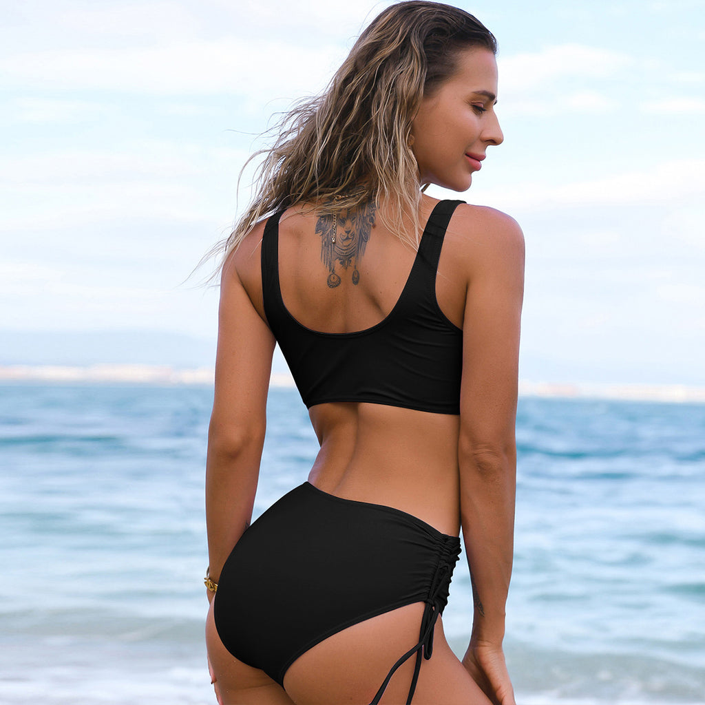 Sexy Pure Color High Waist Bikinis Swimwear Women Two Pieces Bikini Push Up Swimwear Swimsuits Bathing Suit