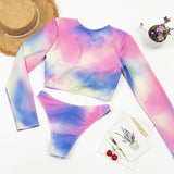 Sexy Long Sleeve Bikinis Women Swimsuit Print Floral Bathing Suits Beachwear Bikini Set Biquini Female