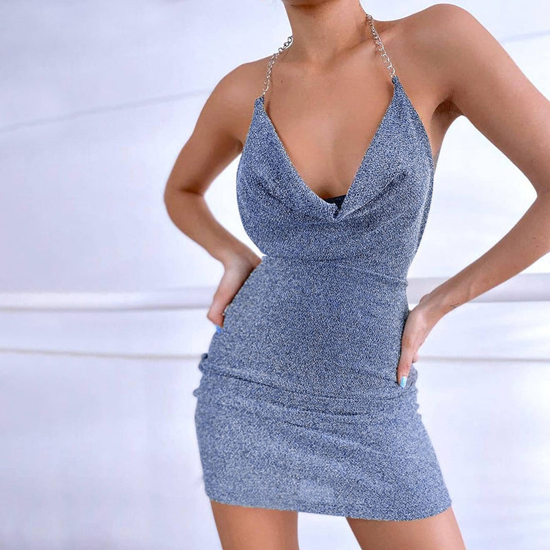 Sequin Glitter Women Chain Halter Mini Dress Stacked Backless Bodycon Sexy Streetwear Party Elegant Club