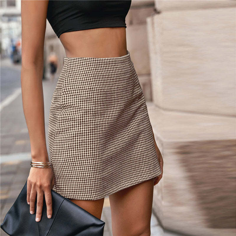 Multicolor Zip Back Houndstooth Mini Skirt Women Bottoms Elegant Ladies Straight Fitted Casual Skirts