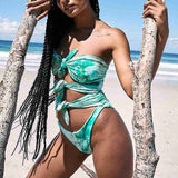 Sexy Green Halter Cut Out Bandage Knotted Pad Swim Up Swimwear Piece Bathing Swimsuit Women Push Suit On