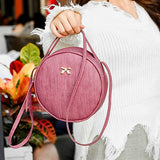 Fashion Women Round Bag Leather Women's Circular Crossbody Shoulder Messenger Bags Ladies Purse Female Bolsa Handbag