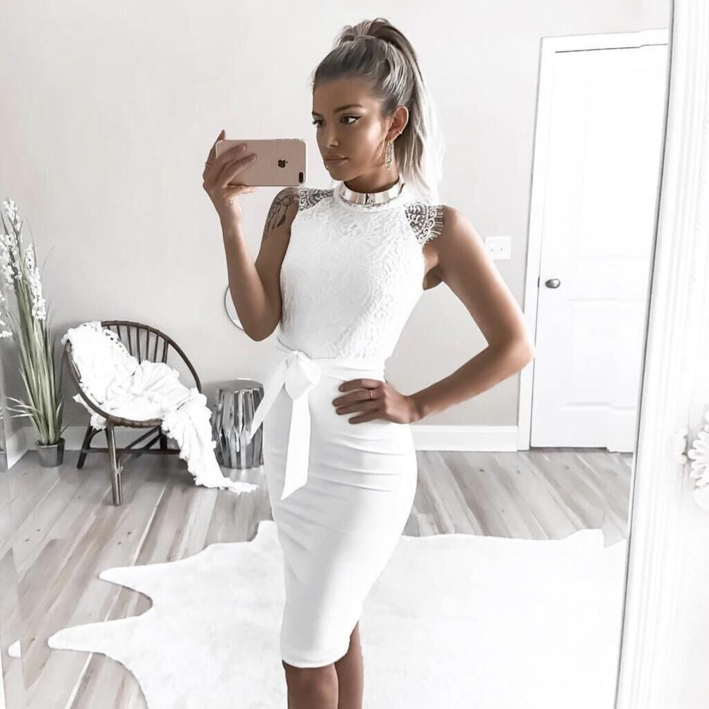 White Dress Women Dress Party Dresses Women Evening Elegant Lace Patchwork Sexy Sleeveless Slim Bodycon Dress Robe