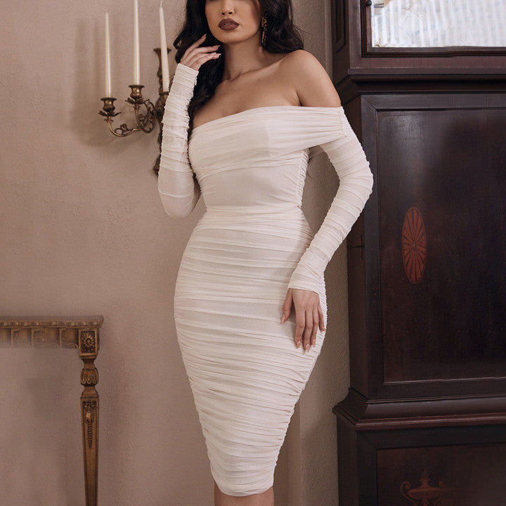 Mesh Sheer Off Shoulder Midi Party Dress Women Elegant Long Sleeve Ruched Bodycon Dresses White Backless Vestidos