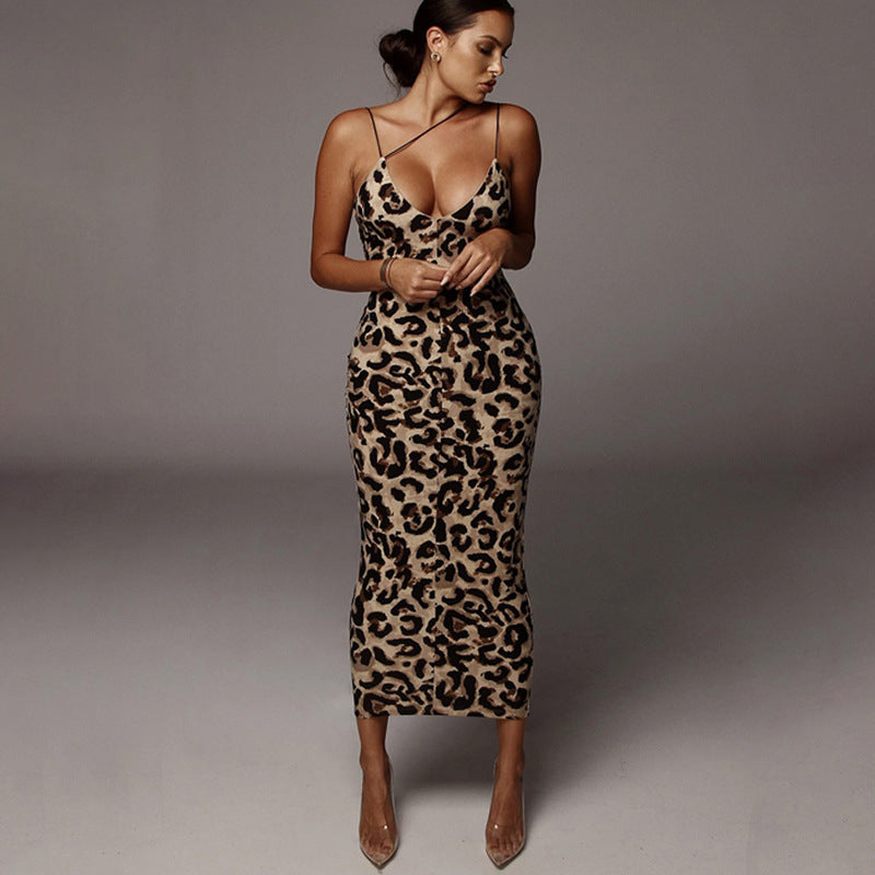 Leopard Printed Sexy Sleeveless Maxi Dress Women Spaghetti Strap Backless Bodycon Dresses Fashion Party Vestidos