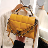 Luxury Woman Shoulder Bag High Quality Leather Small Square Bag Fashion Chain Handbag Female Crossbody Bag Purse