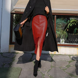 Fashion Female PU Leather High Quality Mid-calf Length Spit Sexy High Waist Skirt