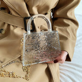 Ice Crack Transparent Lipstick Bags Chain Jelly Women's Shoulder Bag Female Crossbody Bag PVC Mini Handbag Purse
