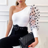 Women One Shoulder Blouse Sexy Dots Puff Sleeve Shirts Office Lady Skew Collar Tops Slim Blouse