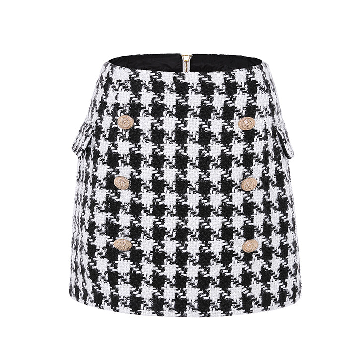 Fashion Runway Designer Skirt Women's Lion Buttons Double Breasted Tweed Wool Houndstooth Mini Skirt