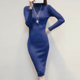 Women Sweater Knitted Dresses Slim Elastic Turtleneck Long Sleeve Sexy Lady Bodycon Robe Dresses Vestidos
