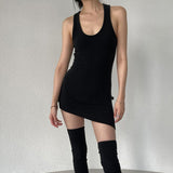 Cotton Women Sleeve Mini Dress Hollow Out Backless Bodycon Sexy Party Elegant Streetwear Clothes Solid Slim