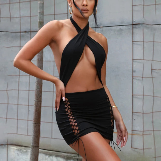 Criss-cross Halter Hollow Out Drawstring Dress Women Backless Sexy Mini Dresses Female Bandage Bodycon Beachwear
