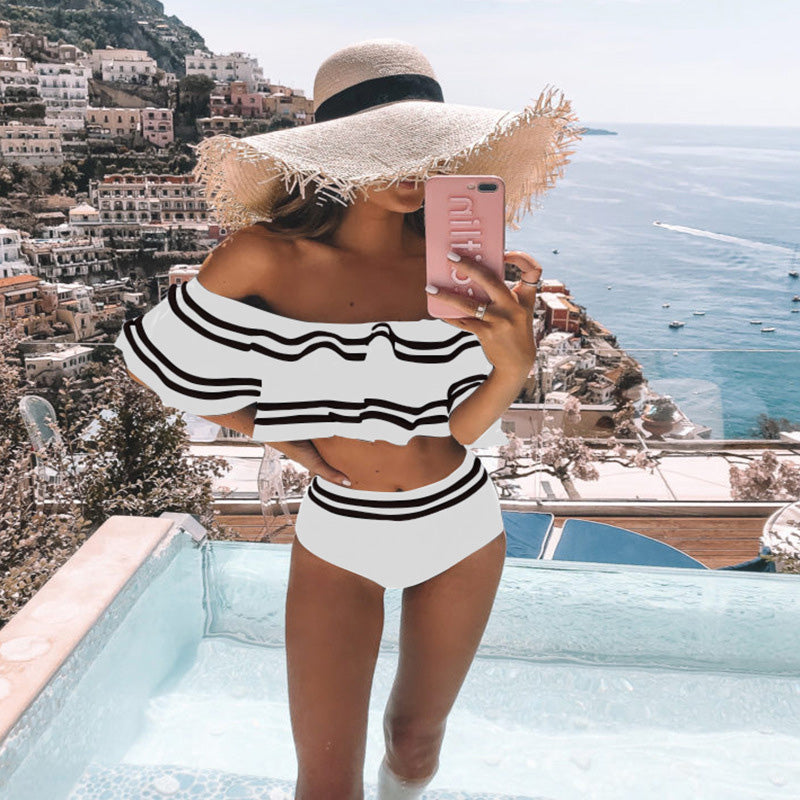 High Waist Bikini Set Sexy Off Shoulder Swimwear Women Swimsuit Ruffle Bathing Suit Beachwear Biquini Female