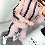 Tracksuit Women Two Piece Set Clothes Mesh Striped Patchwork Sweatshirt and Pants Sport Jogger Suit Female Casual Outfits