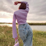 VNeck Flare Sleeve Long Drawstring Slim Purple Crop Top Pleated Solid Simple Sweet T Shirts Women Casual Tops