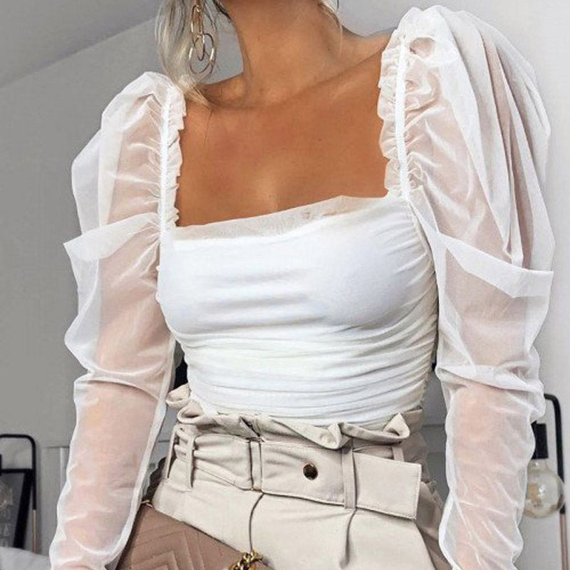 Womens Sexy Mesh Long Sleeve Blouses Fashion See-through Ladies Casual Solid Patchwork Puff Sleeve Ruched Blouse Tops