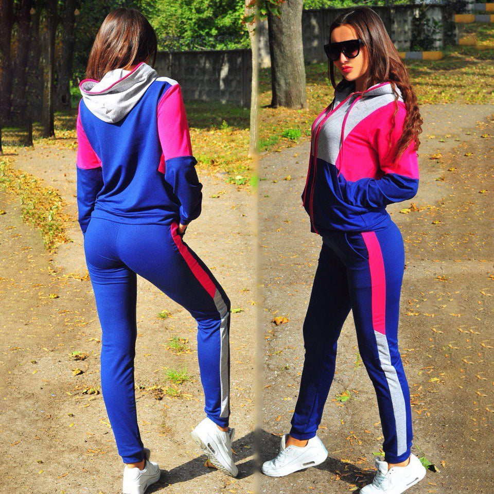 2Pcs Set Casual Sport Suit Women Tracksuit Long Sleeve Zipper Hoodies Sweatshirt Pants Set Jogger Sport Suits Sportswear