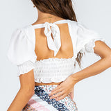 Crop Top Shirred Panels Open Back With Tie Ruffle Detailing Balloon Style Sleeves Tops