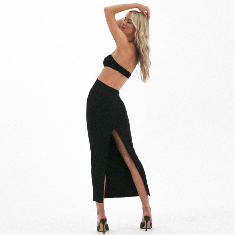 Halter Women Midi Dress Lace Up Bandage Backless Hollow Out Bodycon Sexy Streetwear Party Elegant Club