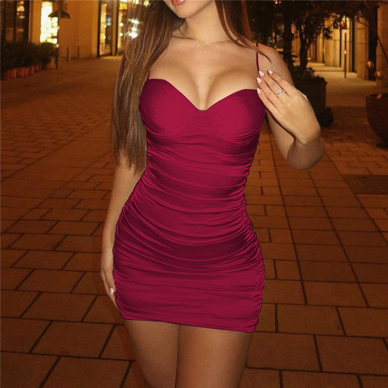 Strap Ruched Bodycon Dresses For Women Ladies Backless Mini Dress Solid Sexy Night Club Partywear