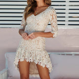 Lace Floral Dress Sexy V Neck Half Sleeve Hollow Out Evening Party Dresses Elegant Plus Size Lace Layered Mini Dress