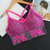 Push Up Sport Bra Pink Letter Print Sport Bra Tops for Women Gym Wear Fitness Running Yoga Bra Sportswear