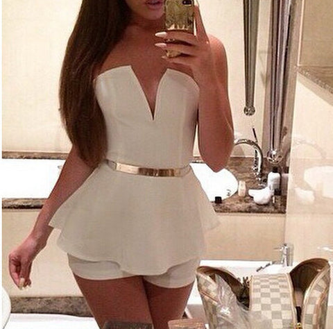 V-neck Sleeveless printed Backless Romper Jumpsuit