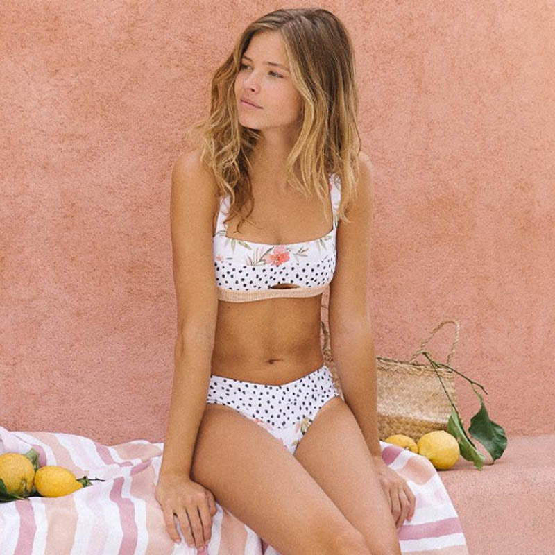 Sexy Dot Floral Bikinis Push Up Swimwear Women Hollow Out Swimsuit Patchwork  Beachwear Swimming Biquini