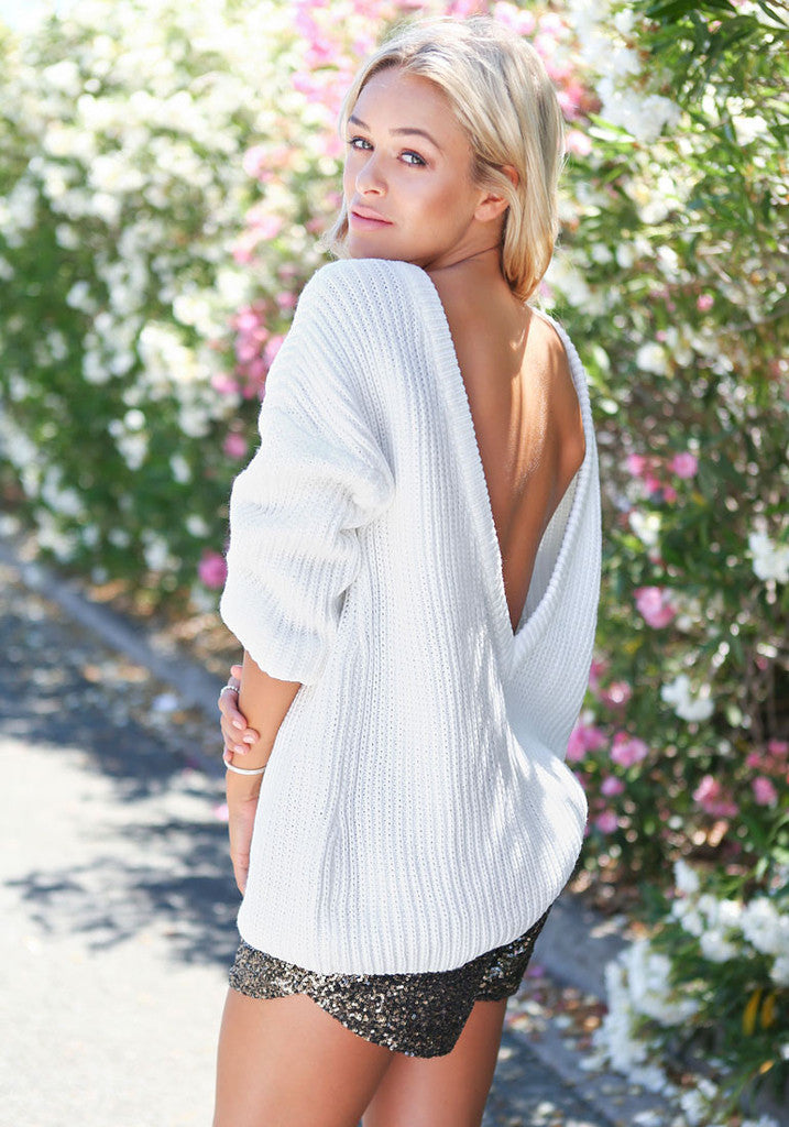 Deep-V Backless Sexy Sweater [CS1104BB]