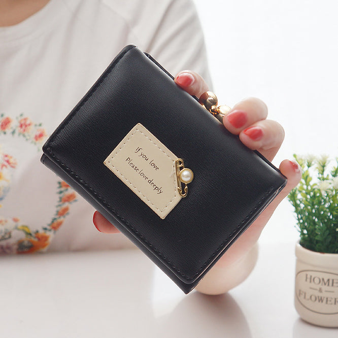 Women Wallets Female Short Design Fashion Three Fold Purse Simple Cute Student Clutch Card Holder Coin Purse