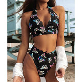 Bikini Butterfly Print Innovative Tie Sexy High Waist Deep V Swimsuit Set