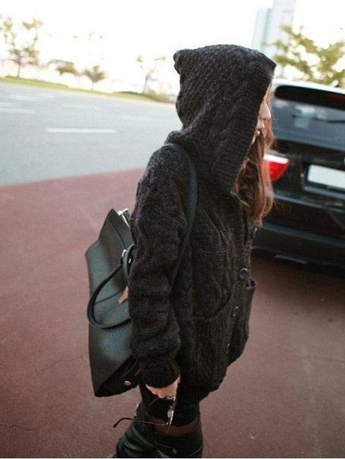Loose Knit hooded Sweater coat