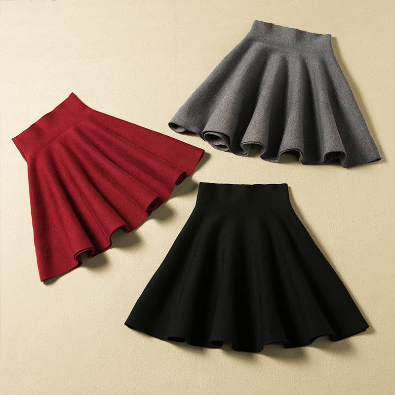Fashionable Long Sleeve Knit Sweater OAP20VD And Pure Color Skirts T15010301