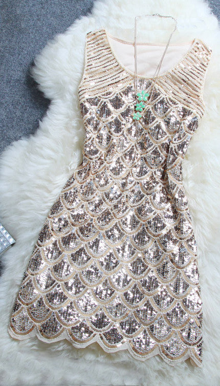 Stylish Beaded Sequined Dress