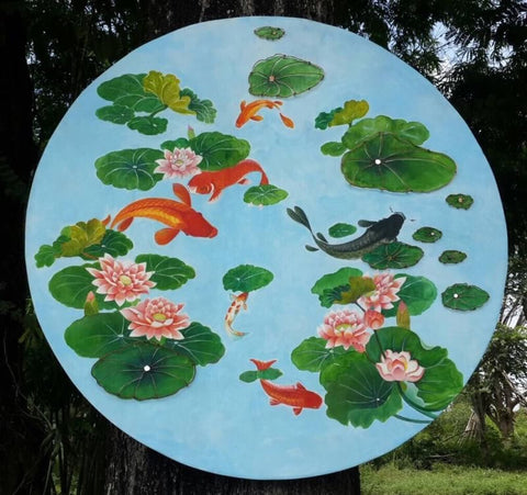 ww0023 : Lotus on a Fish Pond Copper Wire Art on Hand Painted Teak Panel