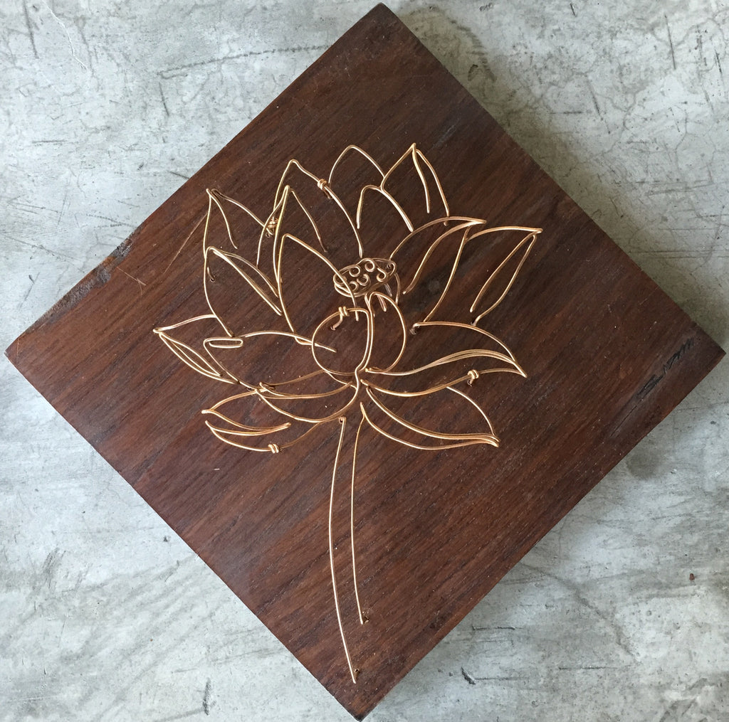 Wire Art Ww0004 Single Lotus Copper Wire Art Sculpture Wood Wire By