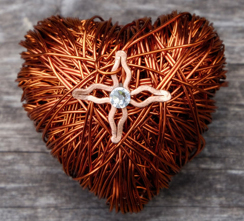 ww0014:  Special Occasion Gift: Copper Wire Heart in Leather Pouch Limited Edition