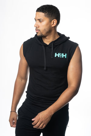 HDMH Men's Athletic Cut Off Hoodie - Black