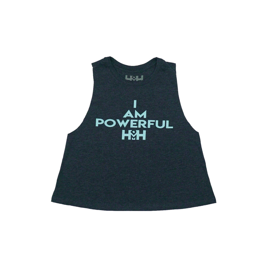 HDMH Women's I AM POWERFUL Racerback Crop Tank - Heather Navy