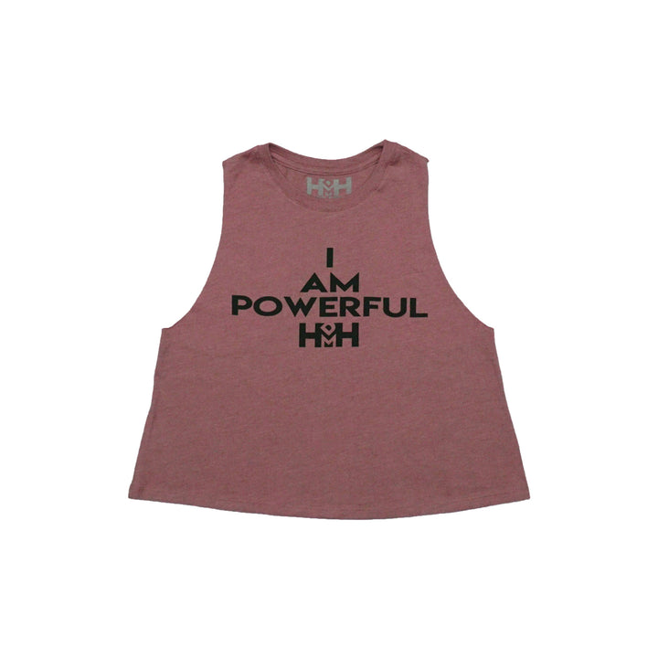HDMH Women's I AM POWERFUL Racerback Crop Tank - Heather Mauve
