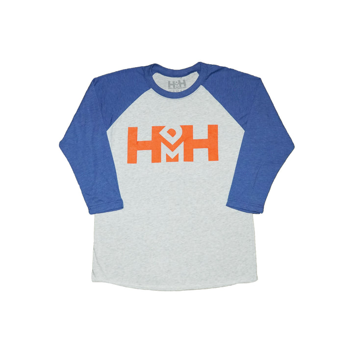 HDMH Unisex 3/4 Raglan - Heather White/Vintage Royal